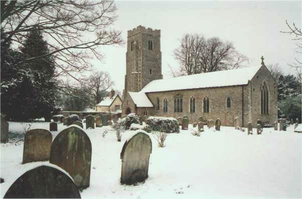 Swardeston Church in the Snow